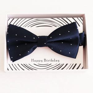 Navy bow tie Best man Groomsman Man of honor ring bearer request gift, Kids adult bow, Adjustable Pre tied High quality