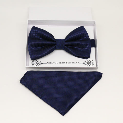 Navy bow tie & Navy Pocket Square, Best man Groomsman Man of honor ring breaer bow, birthday gift, Congrats grad,Navy kids bow, handkerchief
