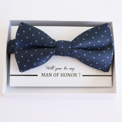 Navy blue bow tie Best man Groomsman Man of honor ring bearer request Birthday gift, Kids adult bow, Adjustable Pre tied High quality
