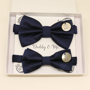 Navy Bow tie set for daddy and son, Live your dream, handmade Daddy and me gift, Grandpa gift, Father son, Toddler kids bow, Some thing blue