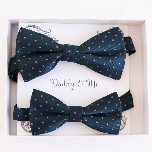 Navy polka dots Bow tie set Kids Adult bow tie Daddy me Father son match, Navy blue kids bow Adjustable pre tied, High quality