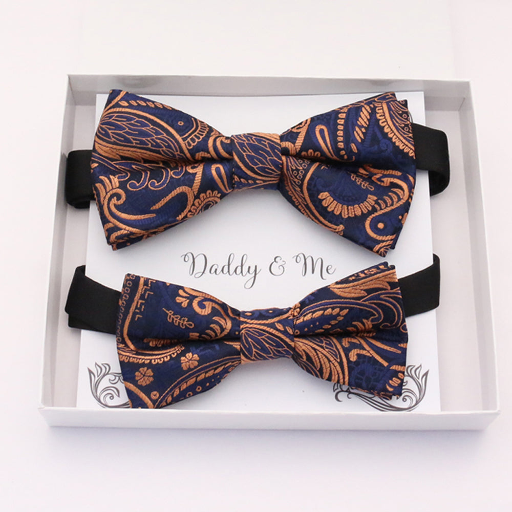 Navy Rose Gold Bow tie set daddy son, Daddy and me gift, Grandpa and me, Father son matching, Kids bow tie, Kids adult bow tie, high quality