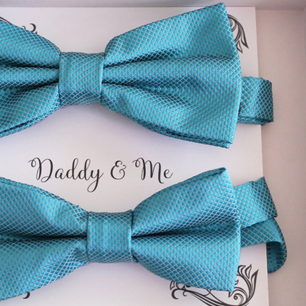 Ocean blue Bow tie set daddy son, Daddy and me gift, Grandpa and me, Kids adult bow tie,  Handmade Adjustable pre tied bow, Ocean blue