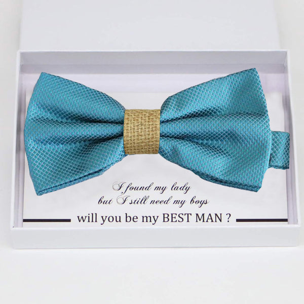 Ocean blue burlap bow tie Best man Groomsman Man of honor Ring Bearer bow tie request gift, Kids bow tie, Birthday congrats cards