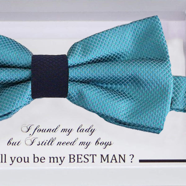 Ocean blue Navy bow tie Best man Groomsman Man of honor Ring Bearer bow tie request gift Kids Birthday congrats cards Adjustable Pre tied