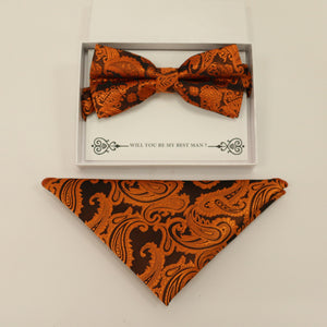 Copper paisley bow tie & Pocket Square, Best man Groomsman Man of honor ring breaer bow, birthday gift, Congrats grad, copper handkerchief