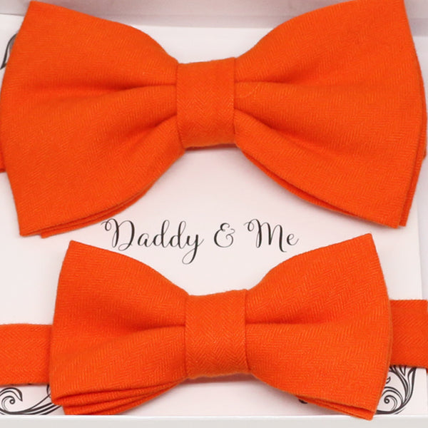 Orange Bow tie set for daddy and son, Daddy and me bow tie gift set, Grandpa me, Orange Kids bow, Orange bow tie, Father's day gift