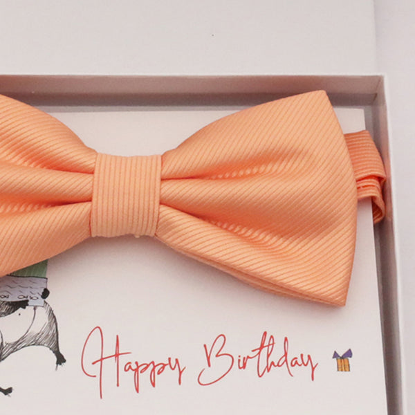 Peach bow tie Best man Groomsman Man of honor ring bearer request gift, Kids adult bow, Adjustable Pre tied High quality, Birthday Congrats