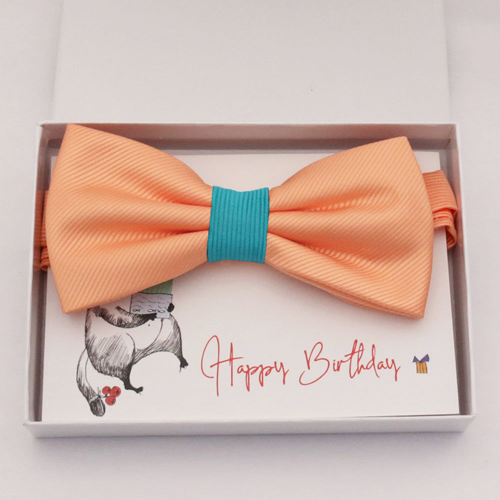 Peach turquoise bow tie Best man Groomsman Man of honor ring bearer request gift, Kids adult bow, Adjustable Pre tied High quality, Birthday Congrats