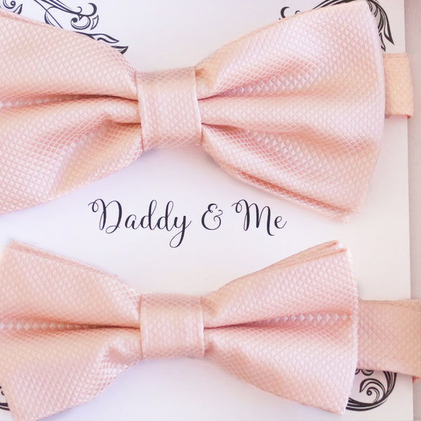 Pearl blush Bow tie set for daddy son, Daddy me gift set Father son match daddy me bow Handmade Pearl blush kids bow Adjustable pre tied bow