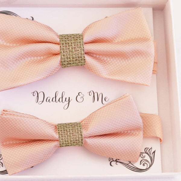 Pearl blush Bow tie set for daddy and son Daddy me gift set Father son match Handmade Ivory kids bow Adjustable pre tied bow, burlap bow