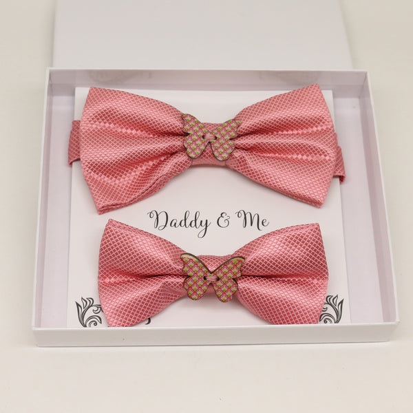 Dusty rose wooden butterfly Bow tie set for daddy and son, Daddy me gift set, Grandpa and me, Father son match, handmade, Dusty rose bow tie