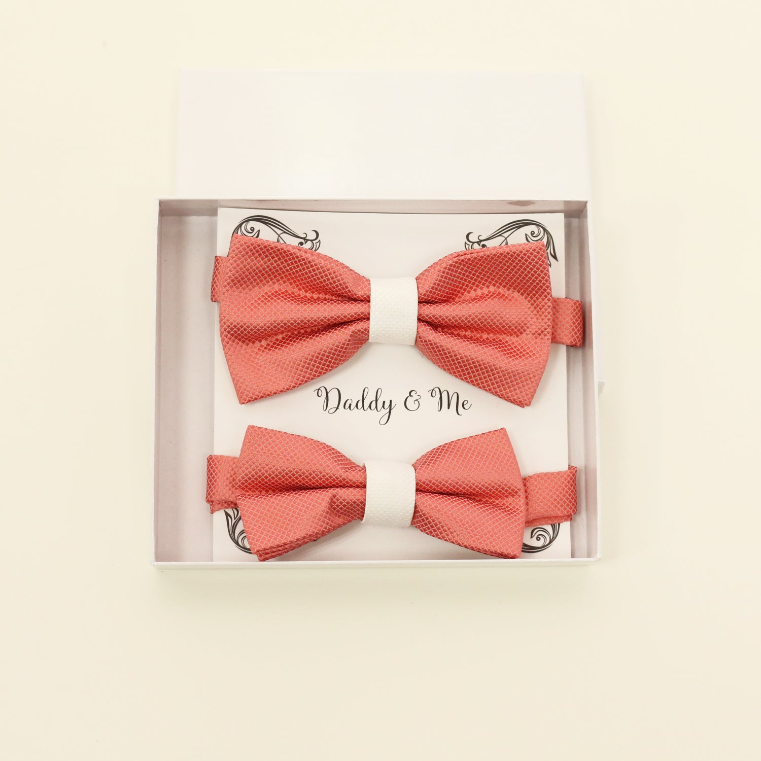 Coral and white bow tie set for daddy and son, Daddy and me gift set, Grandpa and me, Father son matching bow, Coral bow tie for kids