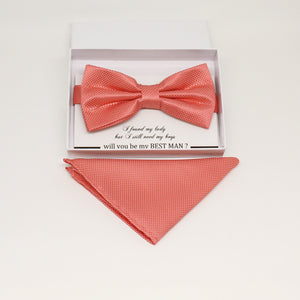 Coral bow tie & Pocket Square, Best man Groomsman Man of honor ring breaer bow, birthday gift, Coral handkerchief, coral kids bow