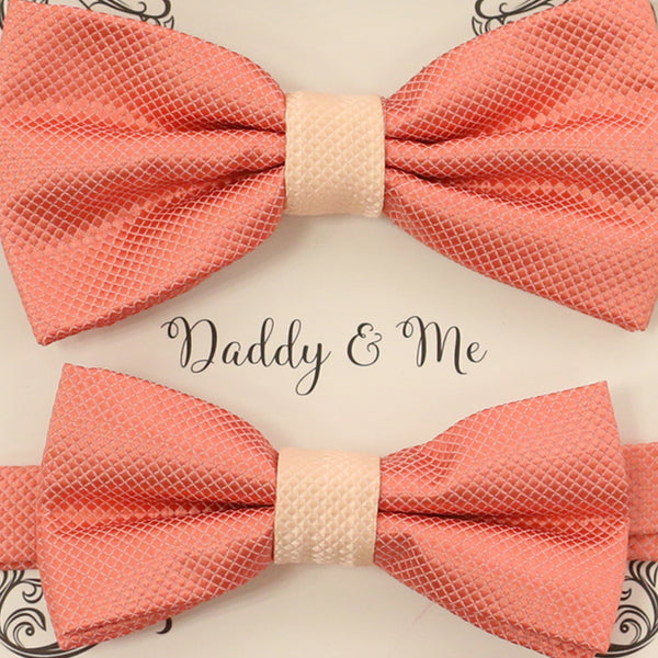 Coral blush Bow tie set for daddy and son, Daddy me gift set, Father son matching, daddy me bow tie, Handmade bow tie, Coral kids bow tie