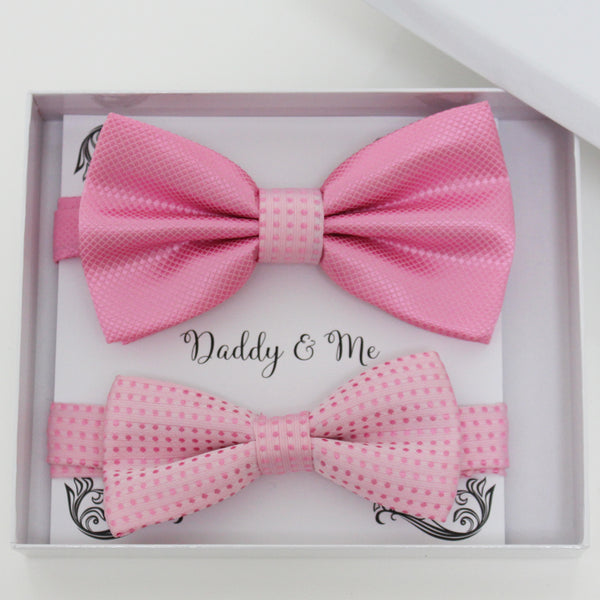 Pink bow tie set for daddy and son, Daddy and me gift set, Grandpa and me, Father son matching, Toddler bow tie, daddy and me bow tie gift