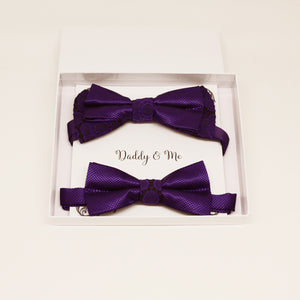 Purple bow tie set for daddy and son, Daddy and me gift set, Grandpa and me, Father son matching bow