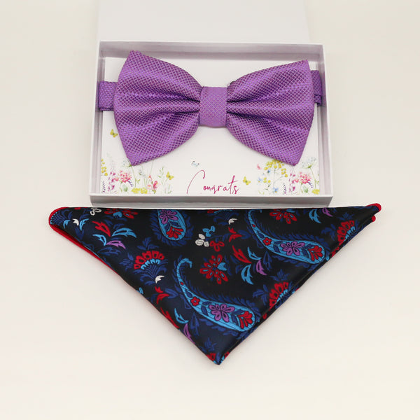 Lavender bow tie & paisley Pocket Square, Best man Groomsman Man of honor ring breaer bow, birthday gift, Congrats, handkerchief, kids bow