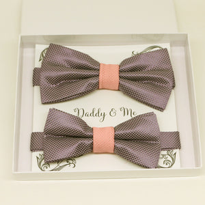 Dusty lavender and dusty rose bow tie set for daddy and son, Daddy and me gift set, Grandpa and me, Father son matching, Dusty lavender bow