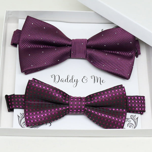 Purple bow tie set for daddy and son, Daddy me gift set, Grandpa and me, Father son matching, Toddler bow tie, daddy me bow tie gift