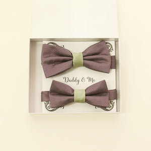 Dusty lavender and green bow tie set for daddy and son, Daddy and me gift set, Grandpa and me, Father son matching, Dusty lavender bow tie