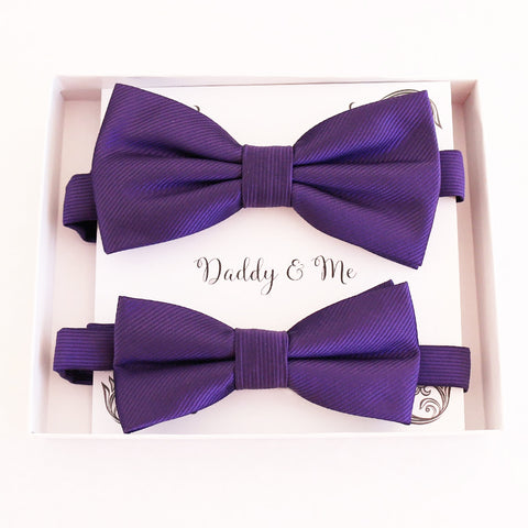 Purple Bow tie set for daddy and son, Daddy and me bow tie gift set, Grandpa me, Purple kids bow tie