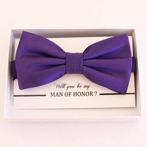Purple bow tie Best man Groomsman Man of honor Ring Bearer bow request gift Adjustable Pre tied Birthday congrats cards handmade bow