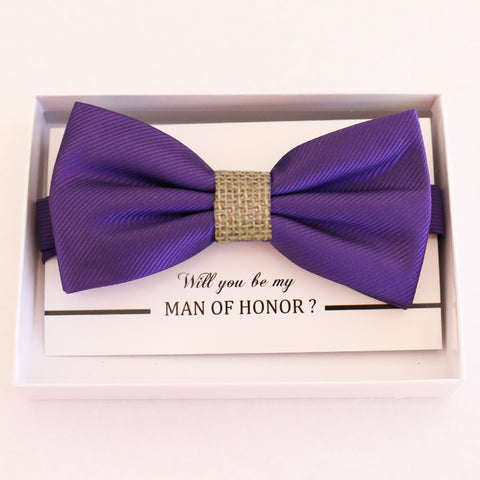 Purple Burlap bow tie, Best man request gift, Groomsman bow tie, Man of honor gift, Best man bow tie, best man gift, man of honor request bow
