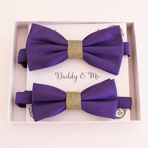 Purple Bow tie set daddy son, Daddy and me gift, Grandpa and me, Father son matching, Kids bow tie, Kids adult bow tie, High quality burlap bow