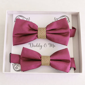 Raspberry rose Bow tie set for daddy and son, Daddy me gift set, Grandpa and me, Father son matching bow Adjustable pre tied bow Handmade