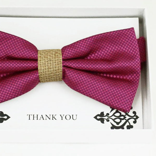 Raspberry rose burlap bow tie Best man Groomsman Man of honor ring bearer request gift, Kids adult bow, handmade Adjustable Pre tied