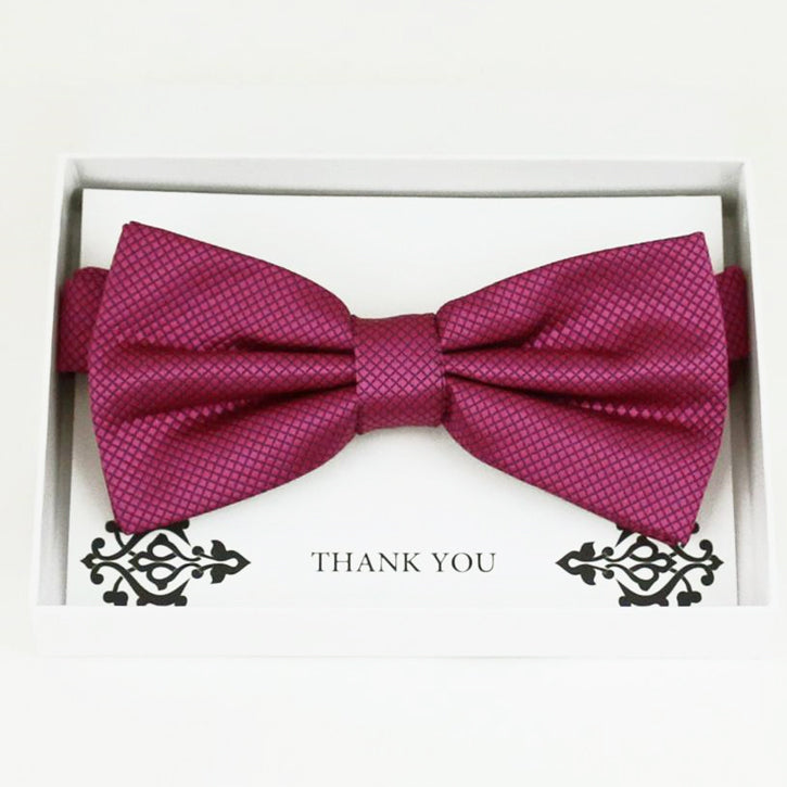 Raspberry rose bow tie Best man Groomsman Man of honor ring bearer request gift, Kids adult bow, Adjustable Pre tied High quality