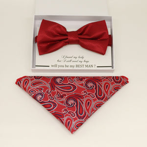 Red bow tie & paisley Pocket Square, Best man Groomsman Man of honor bow tie, birthday gift, Congrats grad, Paisley Red handkerchief