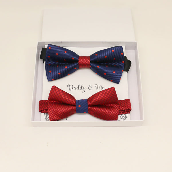 Navy and Red Bow tie set for daddy and son, Daddy me gift set, Grandpa gift, Father son match, Kids adult bow, Kids red bow, Navy red bow