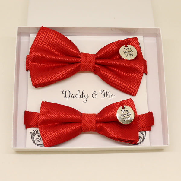 Red Bow tie set for daddy and son, Live Love laugh, handmade Daddy and me gift, Grandpa gift, Father son bow, Red kids bow, Handmade red bow