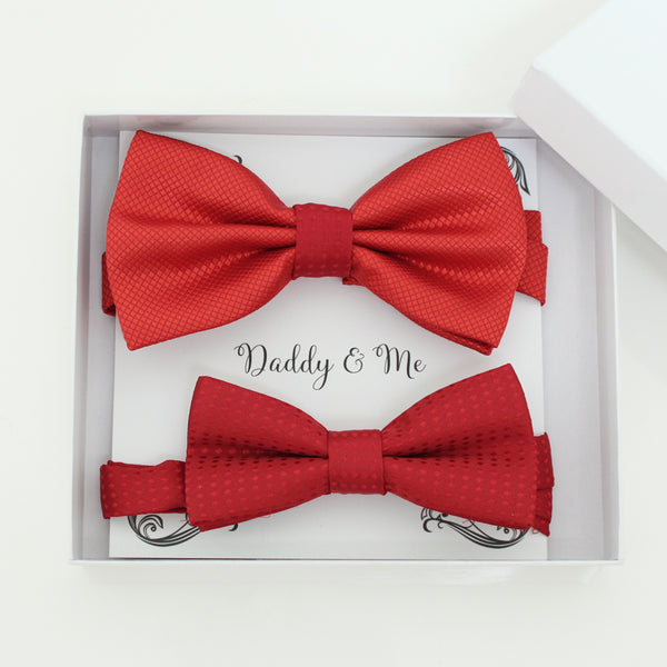 Red bow tie set for daddy and son, Daddy and me gift set, Father son matching, Red kids bow tie, daddy me bow, handmade bow tie, Red bow