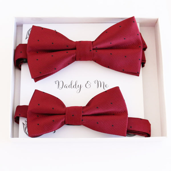 Red Bow tie set for daddy son Daddy me gift set Father son match daddy me bow Handmade kids bow Adjustable pre tied bow, High quality