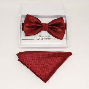 Red bow tie & Pocket Square, Best man Groomsman Man of honor ring breaer bow, birthday gift, Congrats grad, Red handkerchief