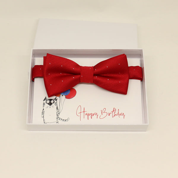 Red bow tie,Red toddler kids bow, Congrats, Happy Birthday card,  Best man request bow, Groomsman bow, Ring Bearer bow, Man of honor request