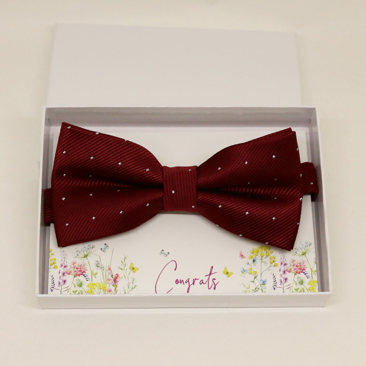 Burgundy bow tie, Best man request gift, Congratulations, Best man request gift, congrats, thank you, Happy birthday card, Ring bearer bow