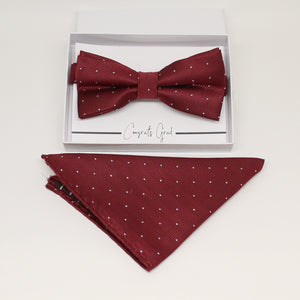 Burgundy bow tie & Pocket Square, Best man Groomsman Man of honor ring breaer bow, birthday gift, Congrats grad, Burgundy  handkerchief