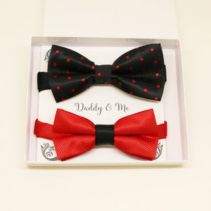 Black Red Bow tie set for daddy and son, Daddy me gift set, Grandpa gift, Father son match, Kids adult bow tie, Kids red bow, black red bow