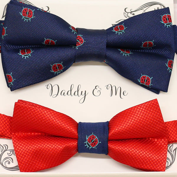 Navy Red Bow tie set for daddy and son, Daddy me gift, Ladybug, lucky bow tie, Father son match, Red kids bow, Grandpa gift, handmade