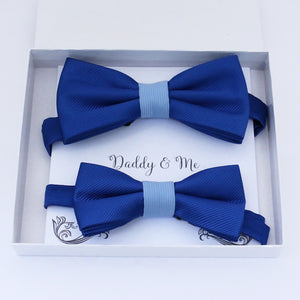 Classic blue Bow tie set daddy son, Daddy Grandpa and Me Father son matching, Kids adult bow tie, Adjustable pre tied bow High quality
