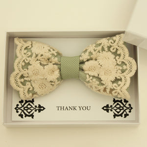 Sage Green lace bow tie,  Handmade lace bow tie, Thank you gift, Pre-Tied Bow Tie, best man bow tie, ring bearer bow tie gift