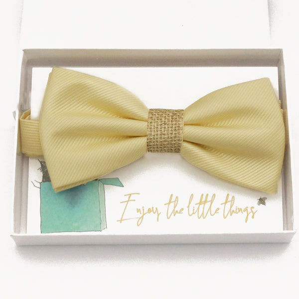 Sunlight yellow burlap bow tie Best man Groomsman Man of honor ring bearer request gift, Kids adult bow, Adjustable Pre tied High quality, Birthday Congrats