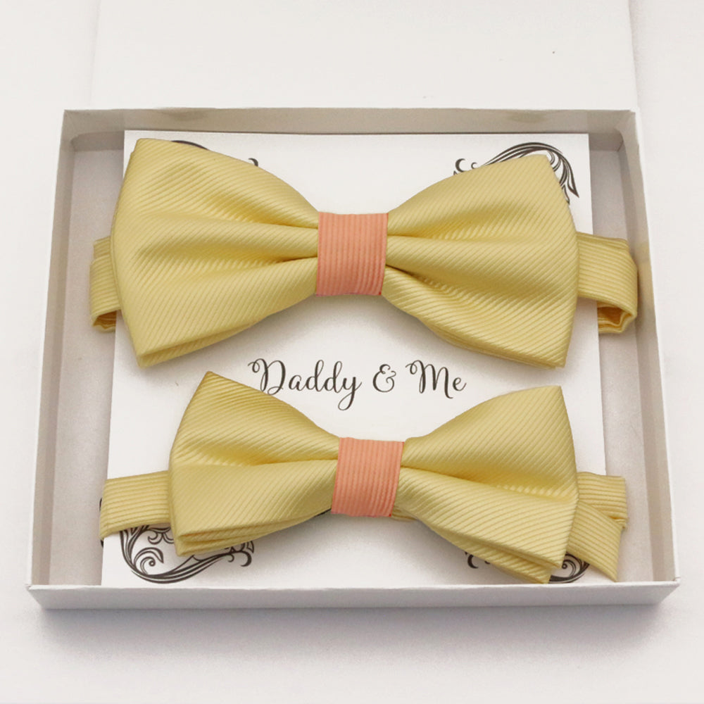 Yellow peach Bow tie set daddy son, Daddy and me gift, Grandpa and me, Father son matching, Kids bow tie, Kids adult bow tie, High quality