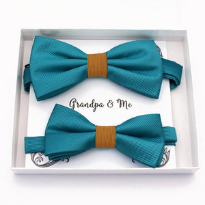 Teal blue and orange Bow tie set daddy son, Daddy and me gift, Grandpa and me, Father son matching, Kids bow tie, Kids adult bow tie, High quality