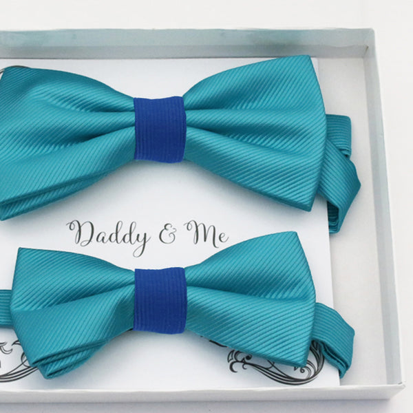 Turquoise blue Bow tie set daddy son, Daddy Grandpa and Me Father son matching, Kids adult bow tie, Adjustable Pre tied bow High quality
