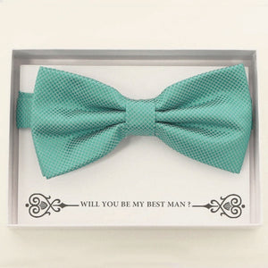 Turquoise blue bow tie Best man Groomsman Man of honor ring bearer request gift, Kids adult bow, Adjustable Pre tied High quality, Birthday